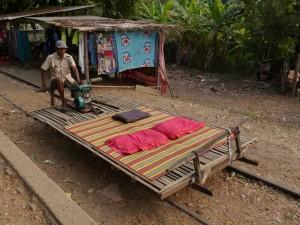 Battambang: Bamboo Train, unser Fahrzeug
