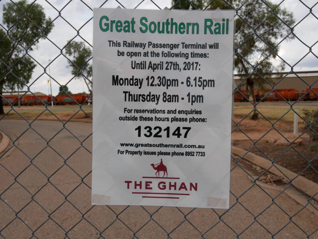 Alice Springs Öffnungszeiten des Bahnhofs